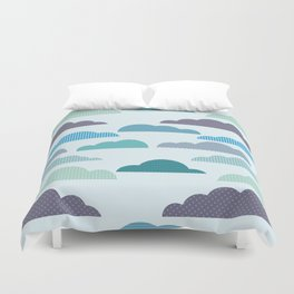 Rainy autumn seamless pattern with clouds Duvet Cover