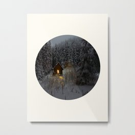 Mid Century Modern Round Circle Photo Secret Winter Cabin With Lights On Metal Print