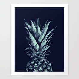 Navy Blue Pineapple Dream #1 #tropical #fruit #decor #art #society6 Art Print