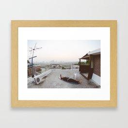 Rooftop Relaxing in Itaewon, Seoul, South Korea Framed Art Print