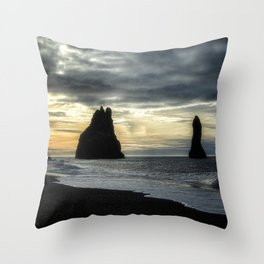 Sunset at the Black Sand Beach - Iceland Throw Pillow