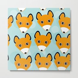 Fox pattern with funny cute animal face on a blue background Metal Print