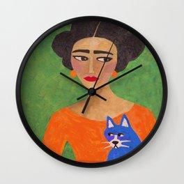 Frida with Blue Cat Wall Clock