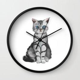blue eyes cat Wall Clock