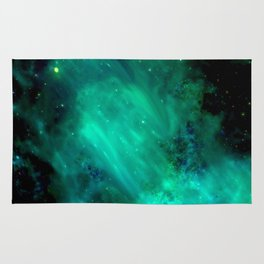 Teal Blue Indigo Sky, Stars, Space, Universe, Photography Rug