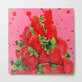 JUICY RED STRAWBERRIES PINK ART Metal Print