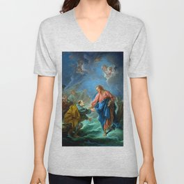 "François Boucher ""St. Peter Invited to Walk on the Water"" Unisex V-Neck"