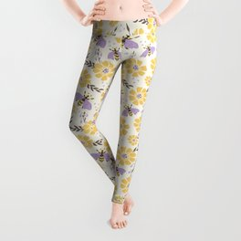 Honey Bees and Flowers - Yellow and Lavender Purple Leggings