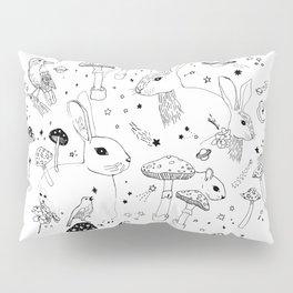 Moon, Space, Rabbits, Birds and Mushrooms Constellation Pattern Pillow Sham