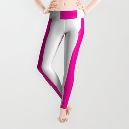 Hollywood cerise pink - solid color - white vertical lines pattern Leggings