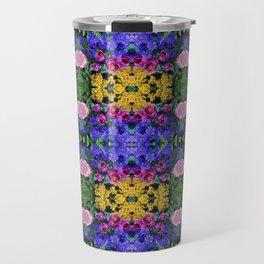 Floral Spectacular: Blue, Plum, Gold - square repeating pattern, Olbrich Botanical Gardens, Madison Travel Mug