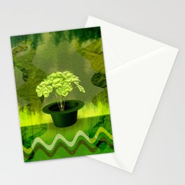 Abstract St Patrick day clover in a hat Stationery Cards