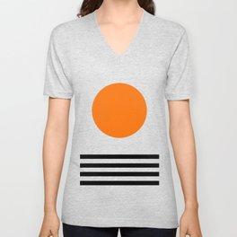Orange Zen Sunset Minimalist Art Black Stripes Simple Art Unisex V-Neck