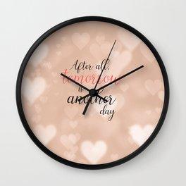 Rose Gold Hearts Bokeh Wall Clock