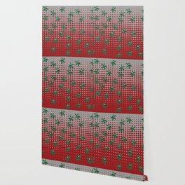 Buckeyes 'n' leaves on scarlet 'n' gray. Wallpaper