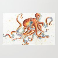 octopus Area & Throw Rugs featuring Octopus by Patrizia Ambrosini