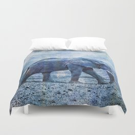 The Elephants Journey blue moon Duvet Cover