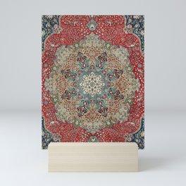 Antique Red Blue Black Persian Carpet Print Mini Art Print