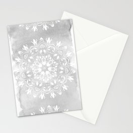 white on gray mandala design Stationery Cards