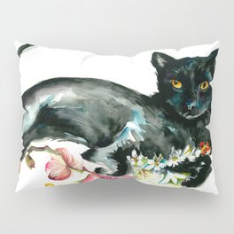 Coffee, Orchid and Black Cat Vintage Style Large Format XXL Pillow Sham