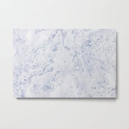 Purple Blue and White Marble Pattern Metal Print