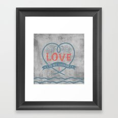 Maritime Design- Love is my anchor on grey abstract background Framed Art Print