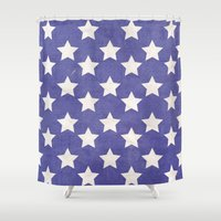 american flag Shower Curtains featuring American Flag by Katie Zimpel