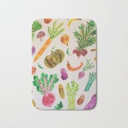 watercolor veggie market Bath Mat