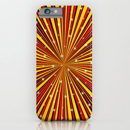 Red Yellow Black And Rays Background With Stars iPhone Case