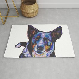 Australian Cattle Dog Portrait blue heeler colorful Pop Art Painting by LEA Rug