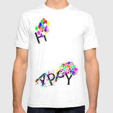 Just Happy MEDIUM Mens Fitted Tee White