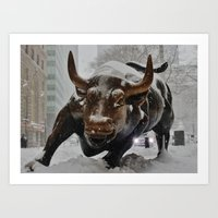 The Snow Bull Art Print