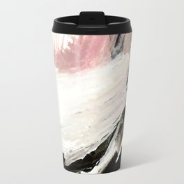 Crash: an abstract mixed media piece in black white and pink Travel Mug