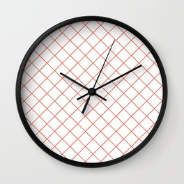 Pantone Living Coral Thin Line Stripe Grid (Pinstripe Pattern) on White Wall Clock