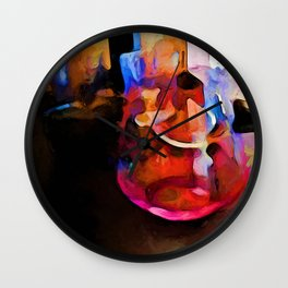 Still Life with a Pink Glass and a Gold Wall Wall Clock