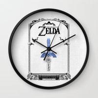 legend of zelda Wall Clocks featuring Zelda legend - Sword by Art & Be