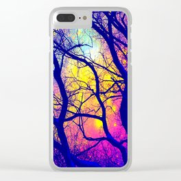 Black Trees Deep Bright & Colorful Space Clear iPhone Case