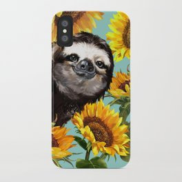 Sloth with Sunflowers iPhone Case