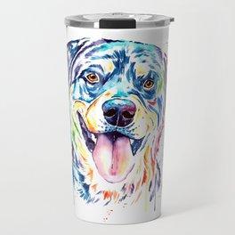 Rottweiler Pet Portrait Colourful Watercolor Painting Travel Mug