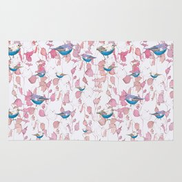 Bird surface pattern design - Light pastel pink (Screen printed) Rug