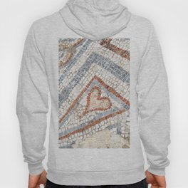 Mosaic Heart | Cute Red Blue and White Tile Old World Charming Decorative Cool Stone Photograph Hoody