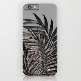 Gray Black Palm Leaves with Rose Gold Glitter #1 #tropical #decor #art #society6 iPhone Case