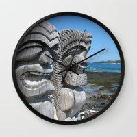 tiki Wall Clocks featuring Tiki by courtney2k ⚓ design™