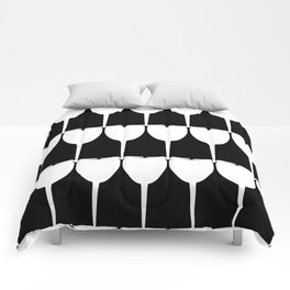 Vino - White on Black Comforters