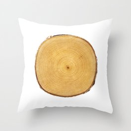 Detailed light yellow wood tree with circle growth rings pattern Throw Pillow