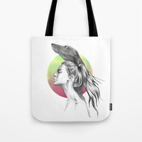 the hound Tote Bags featuring The Hound by eDrawings38
