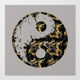 Abstract YIN AND YANG Taijitu Symbol | grey &gold Canvas Print