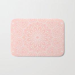 White Mandala Pattern on Rose Pink Bath Mat