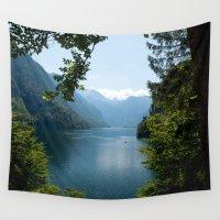 germany Wall Tapestries featuring Germany, Malerblick, Koenigssee Lake by UtArt