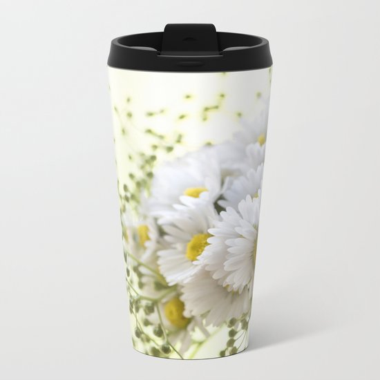 Bouquet of daisies in LOVE - Flower Flowers Daisy Metal Travel Mug